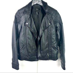 Forever 21 Black Faux Leather Jacket Size SM